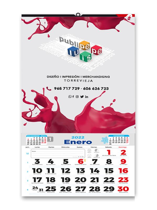Calendario de pared mensual